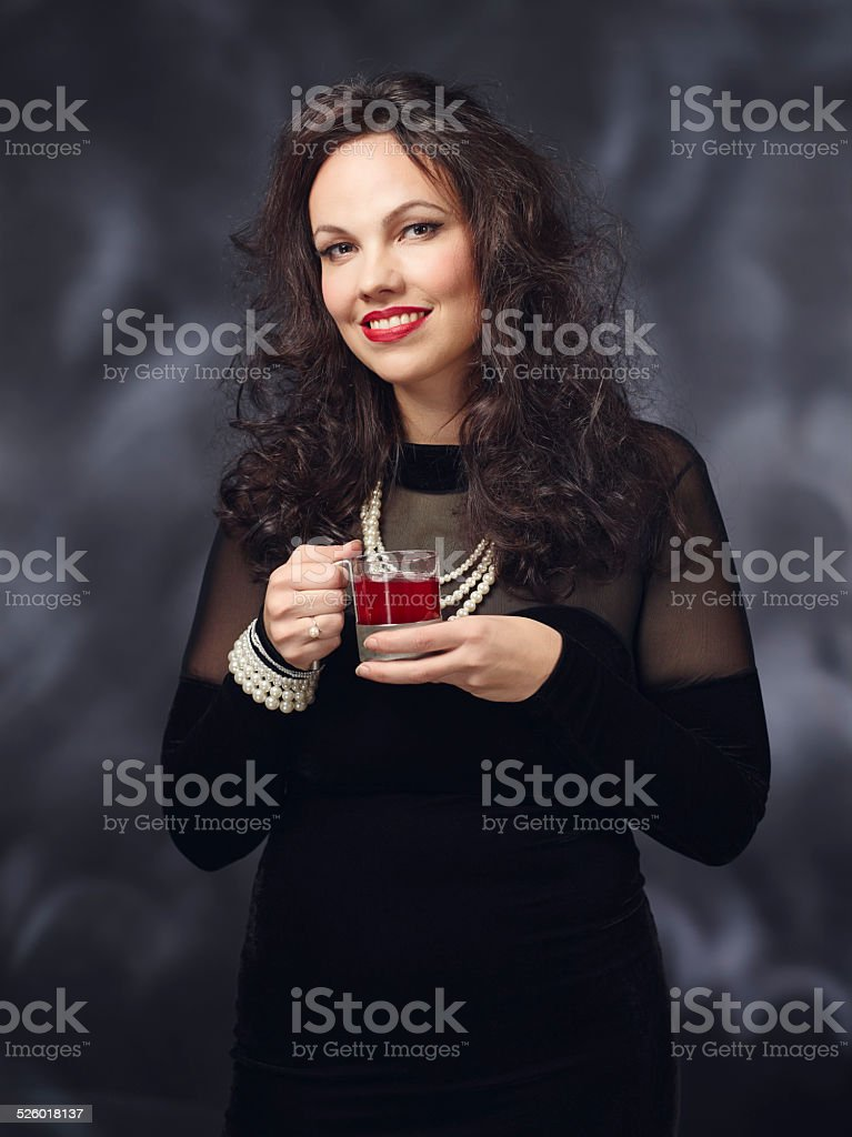 Christmas party and woman stock photo