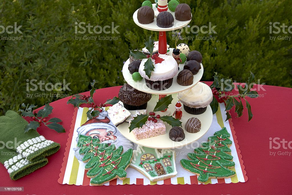 Christmas Party Dessert Buffet Table, Chocolate, Cake, Cookies & Cupcakes royalty-free stock photo