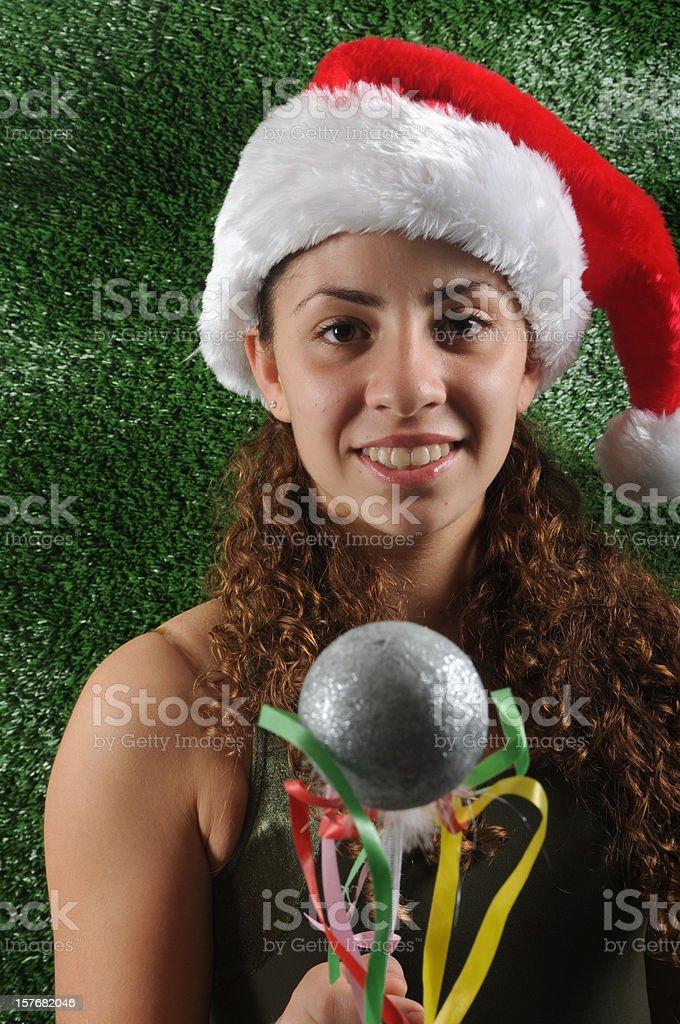 Christmas party girl stock photo