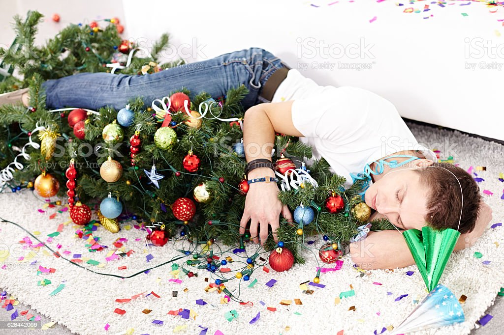 Christmas party goer stock photo