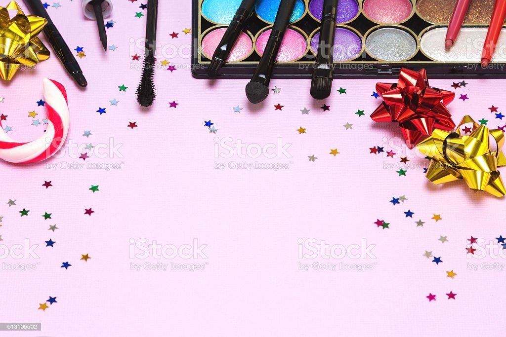 Christmas party makeup stock photo