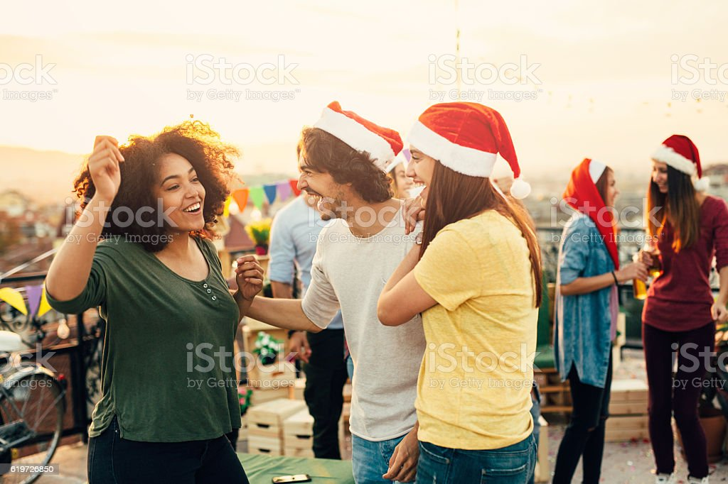 Christmas party on the roof stock photo