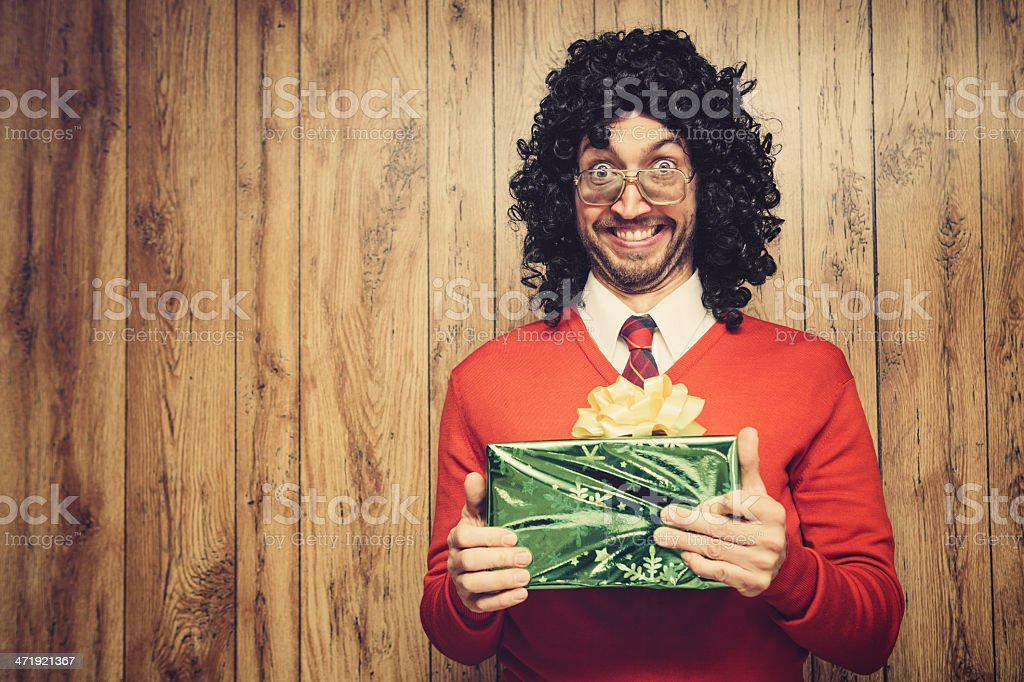 Christmas Perm Guy stock photo