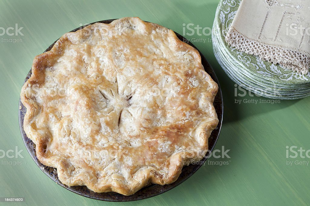 Christmas Pie or Thanksgiving Holiday Dessert & Plates stock photo