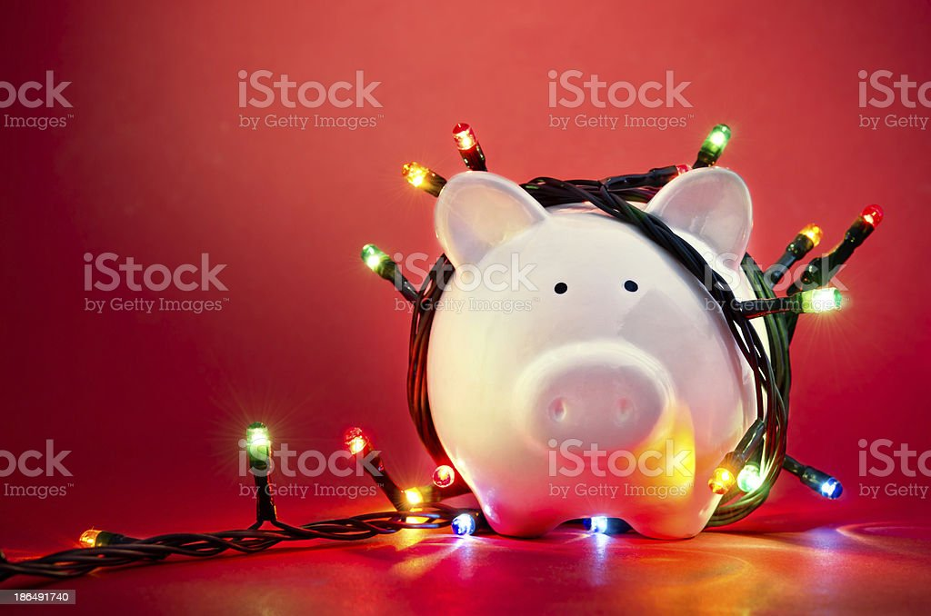 Christmas piggy bank stock photo