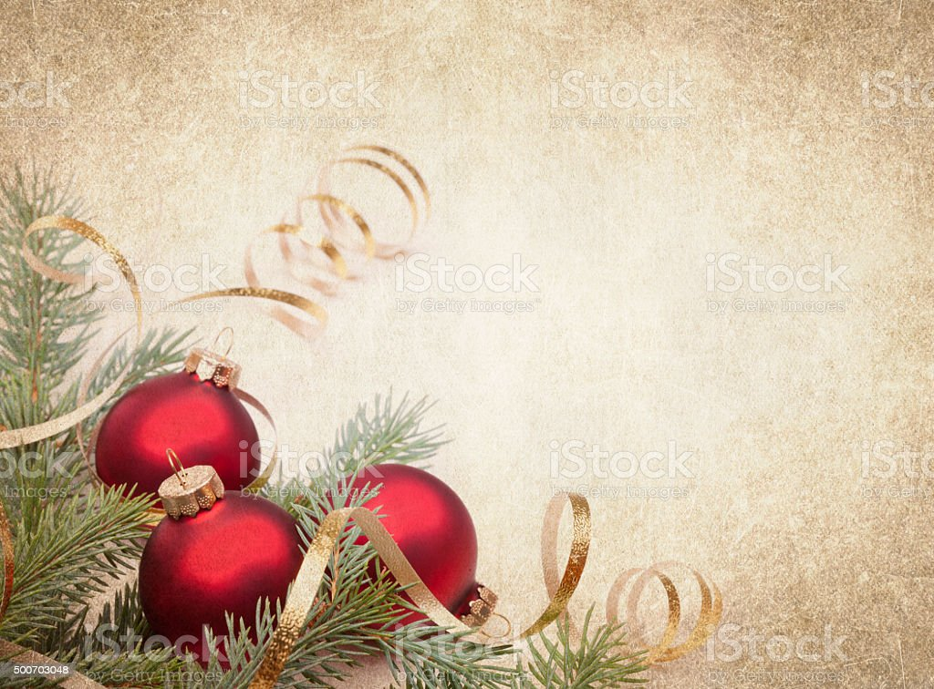Christmas Pine and Bauble Arrangement on Old Rustic Grunge Texture stock photo