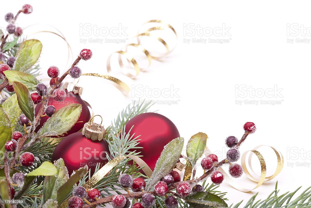 Christmas Pine and Bauble Arrangement royalty-free stock photo