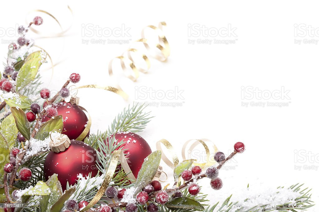 Christmas Pine and Bauble Arrangement stock photo
