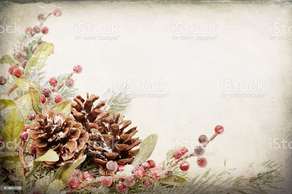 Christmas Pine Bough Border Frame on Textured Toned Background stock photo