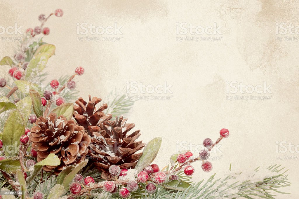 Christmas Pine Cone Arrangement on a Textured Grunge Background stock photo