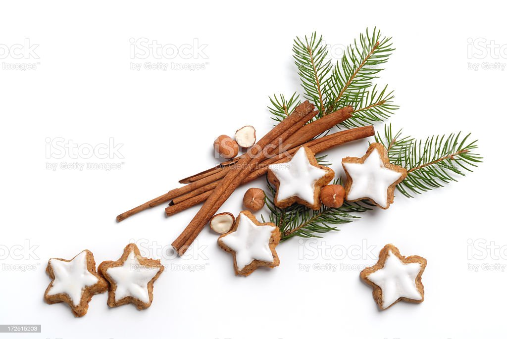 Christmas pine with frosted sugar cookies and cinnamon stock photo