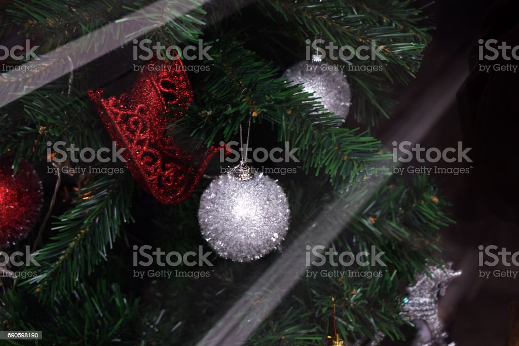 Christmas pine with white and red Christmas balls. stock photo