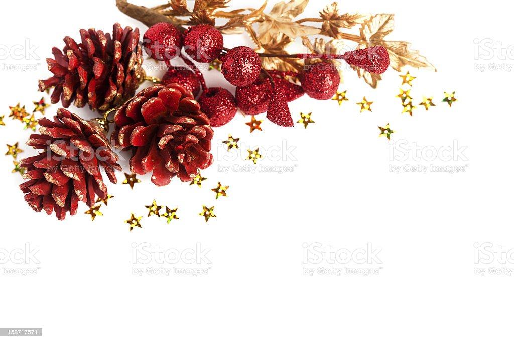 pinecone de Natal com holly Europeia foto de stock royalty-free