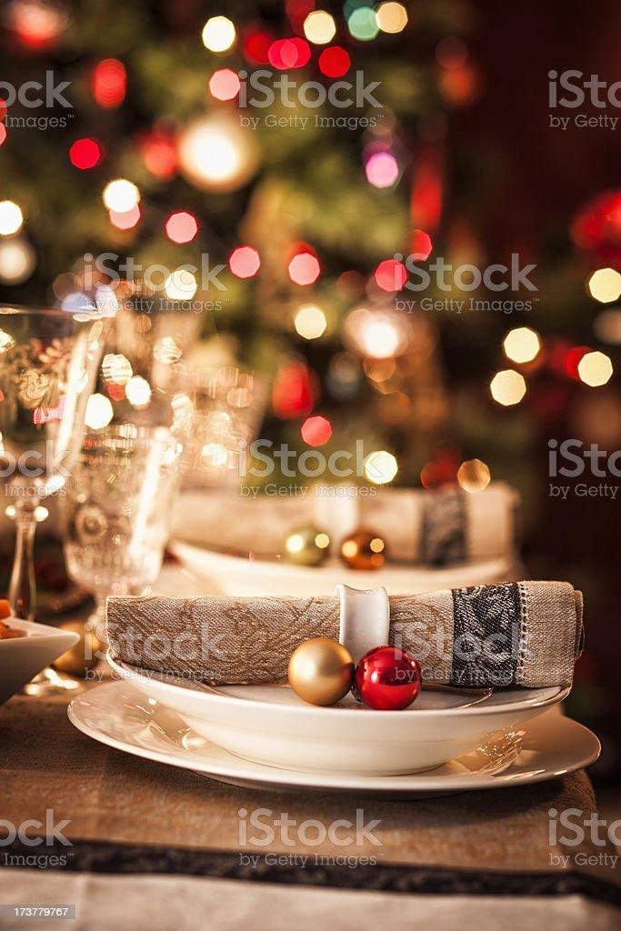 Christmas Place Setting stock photo