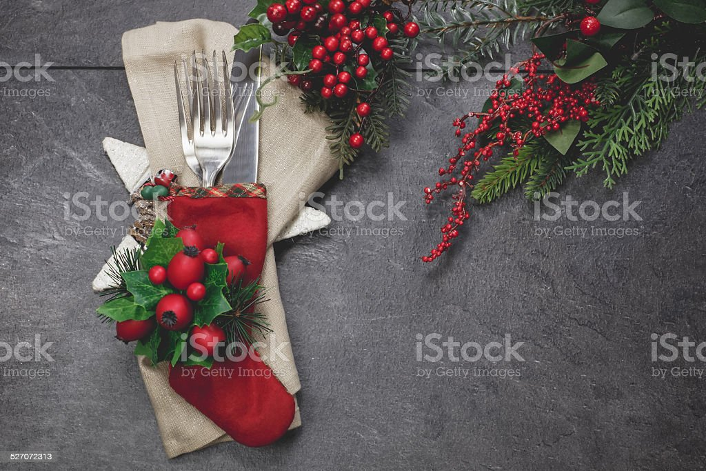 Christmas  place setting with Christmas decorations stock photo