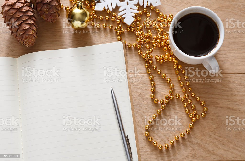 Christmas planning background. Prepare to holidays stock photo
