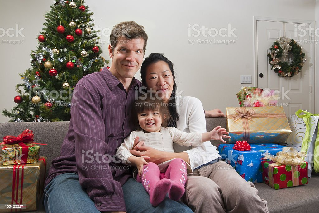 Christmas portrait - mixed race family stock photo