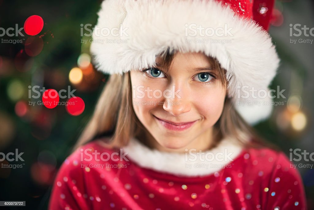 Christmas portrait of a cute little girl stock photo