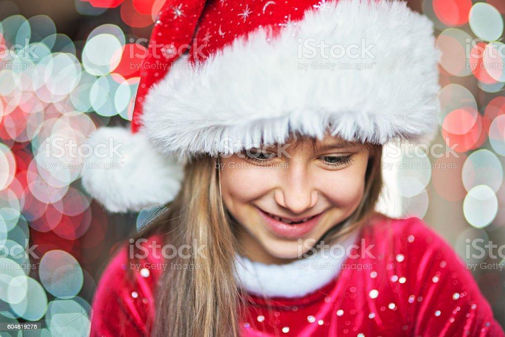 Christmas portrait of a little girl stock photo