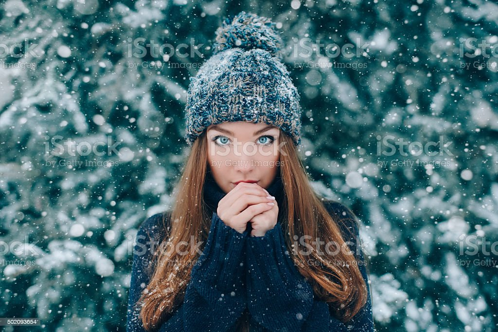 Christmas portrait of beautiful girl stock photo