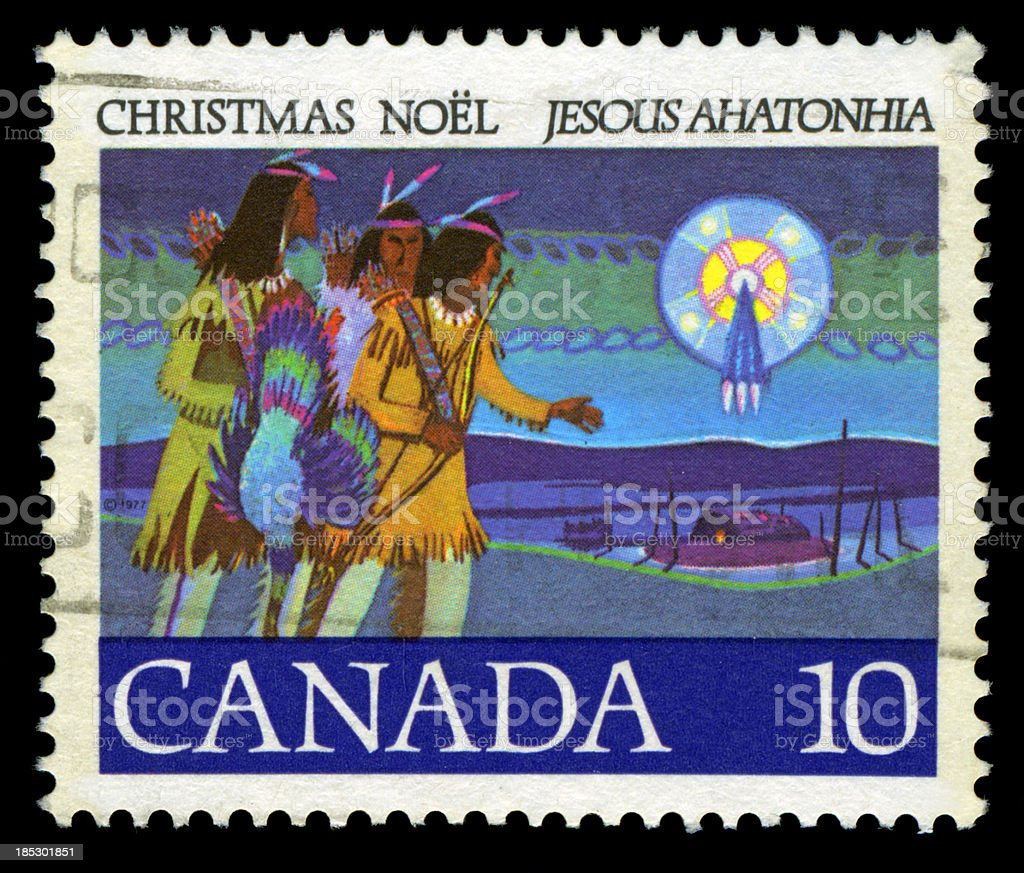 Christmas Postage Stamp, Canada royalty-free stock photo