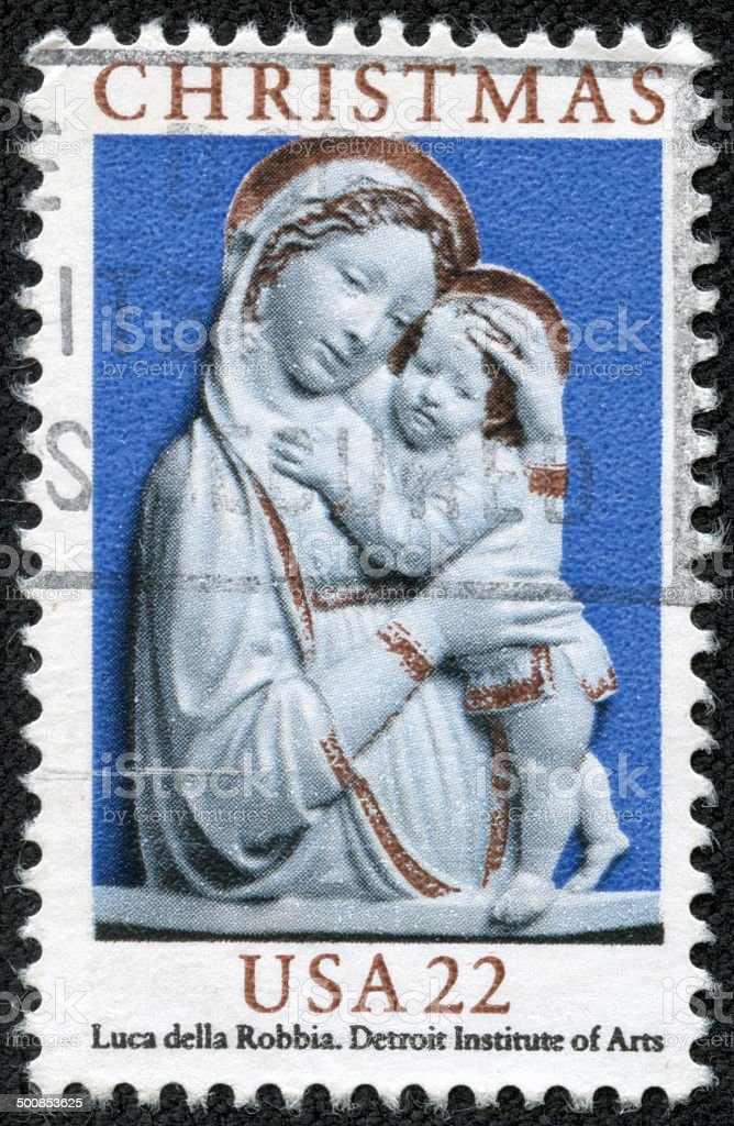 USA Christmas postage stamp stock photo