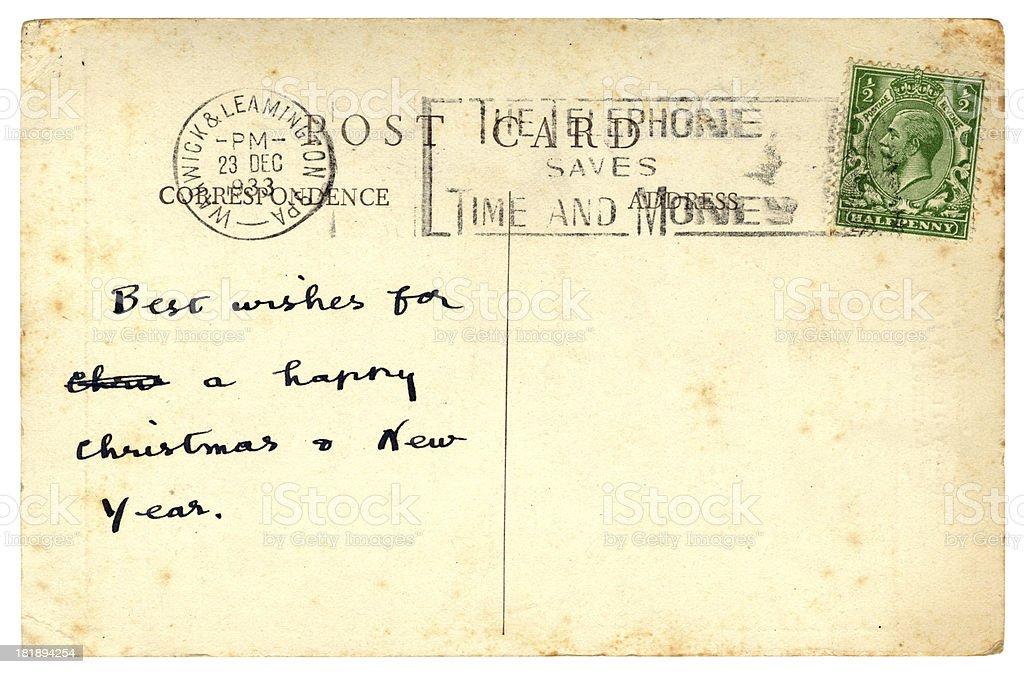 Christmas postcard from Warwickshire, England, 1933 stock photo