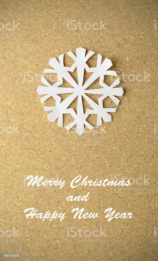 Christmas postcard with true paper snowflake royalty-free stock photo