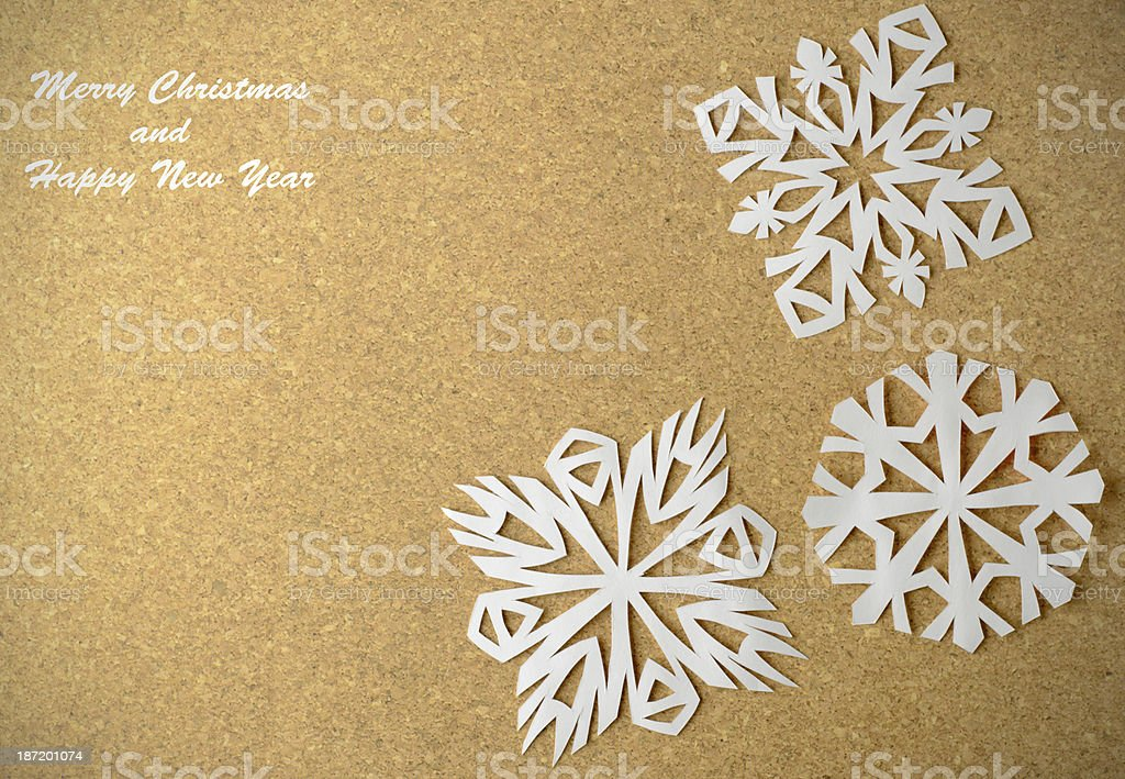 Christmas postcard with true paper snowflakes royalty-free stock photo