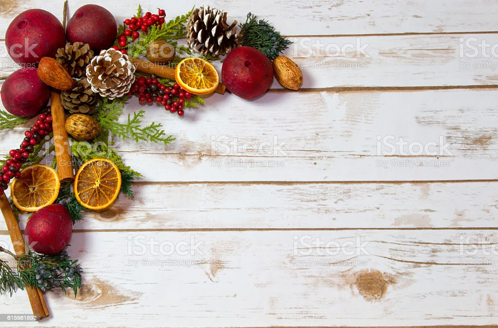 Christmas Potpourri background with room for Copy Space on wood stock photo