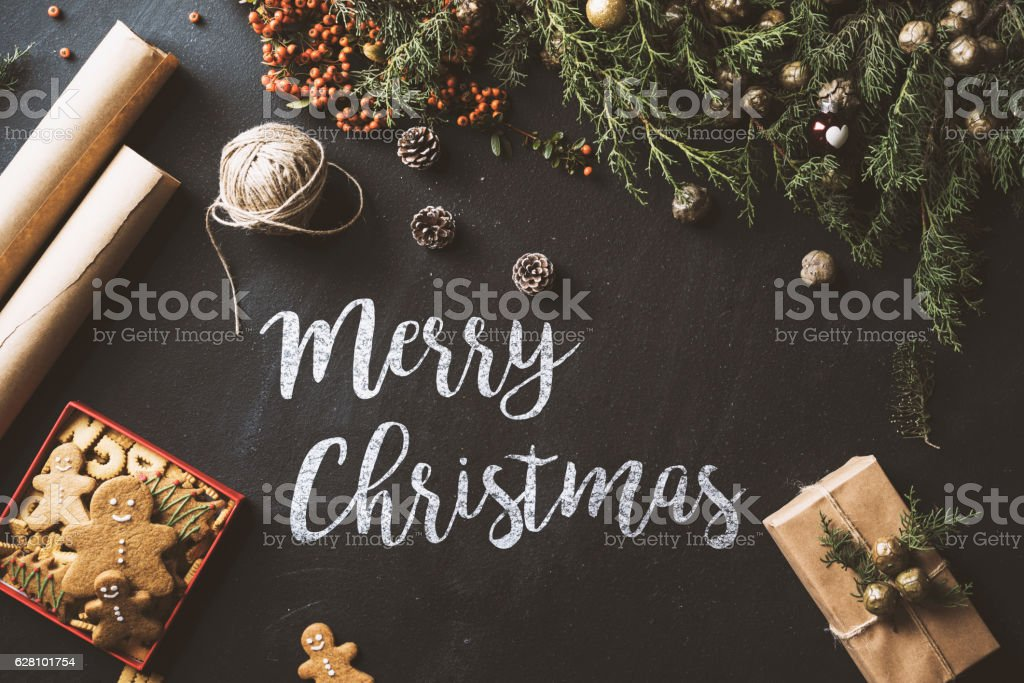 Christmas preparation concept table top with cookies stock photo