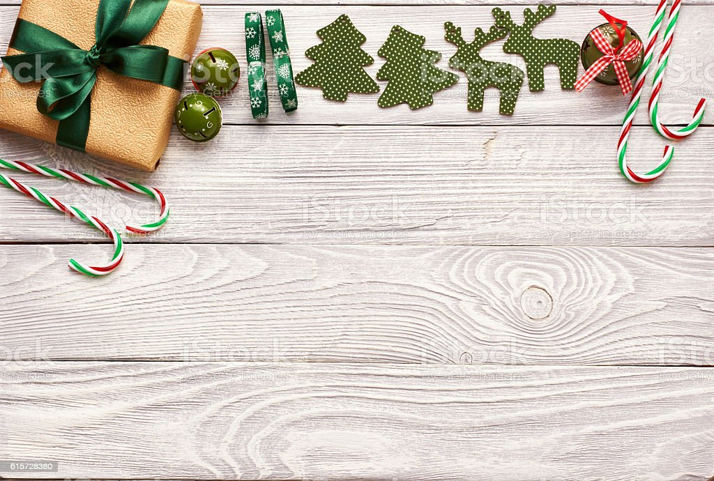 Christmas present and decoration on wooden background stock photo