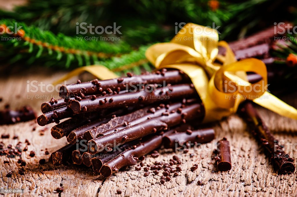 Christmas present chocolate stock photo