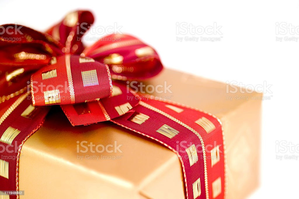 Christmas present close up narrow focus on bow royalty-free stock photo