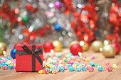 Christmas present gift boxes on wood floor