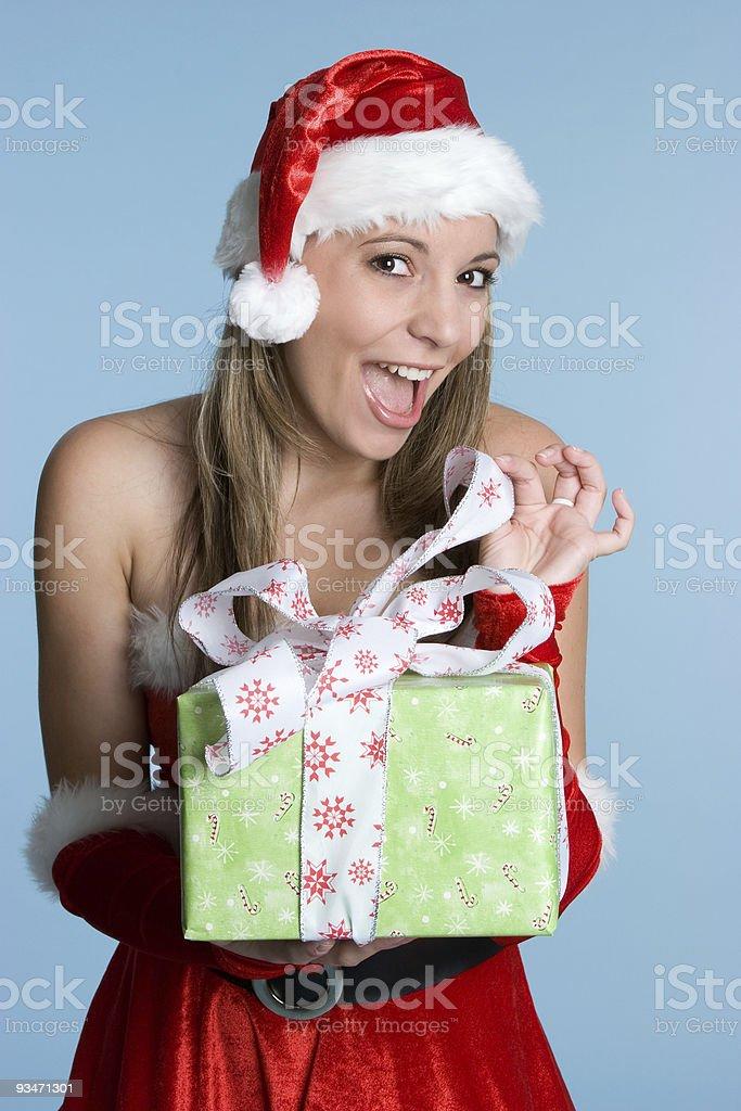 Christmas Present Girl royalty-free stock photo