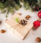 Christmas present in rustic style