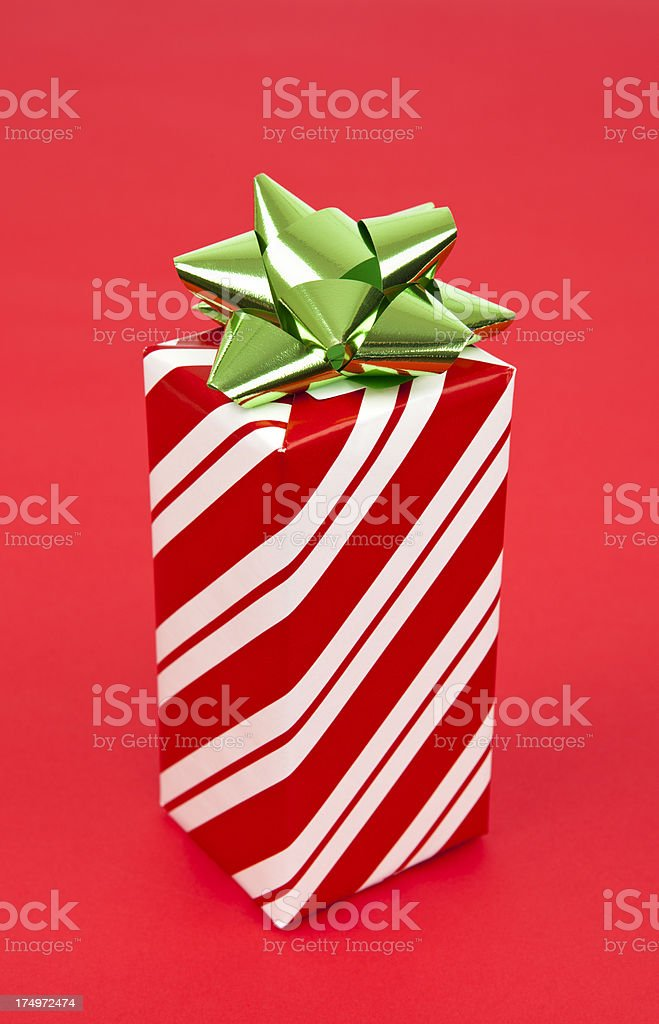 Christmas Present on Red Background royalty-free stock photo