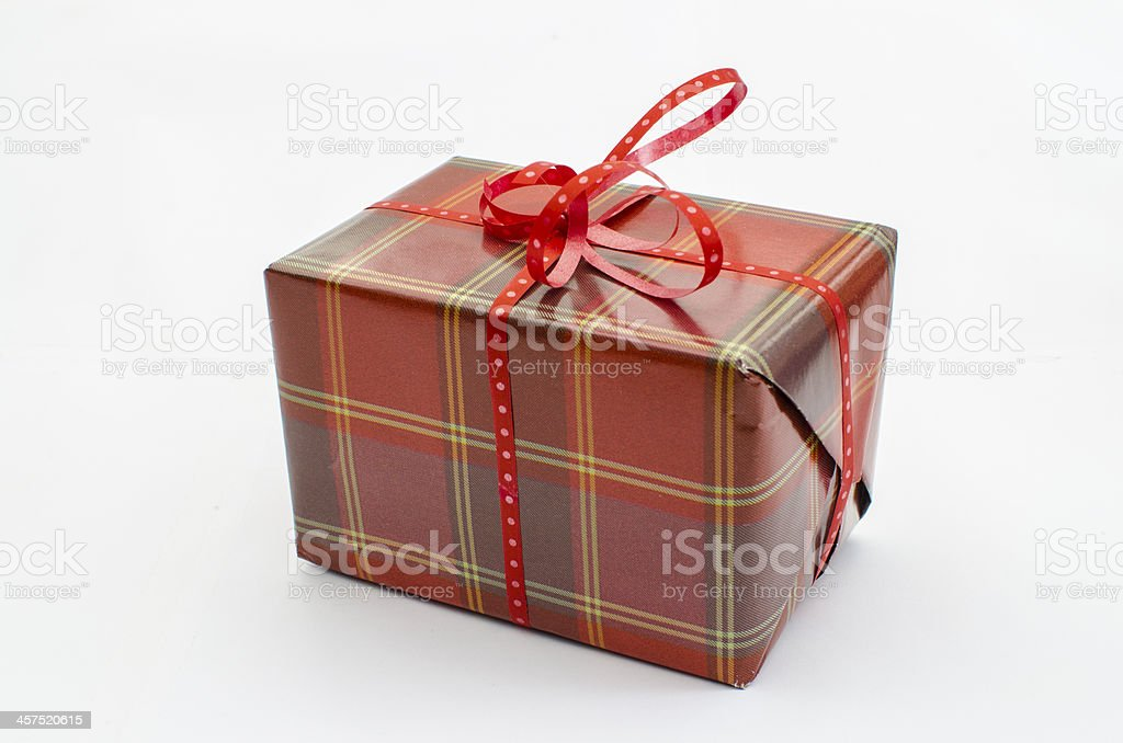 Christmas present on white background royalty-free stock photo