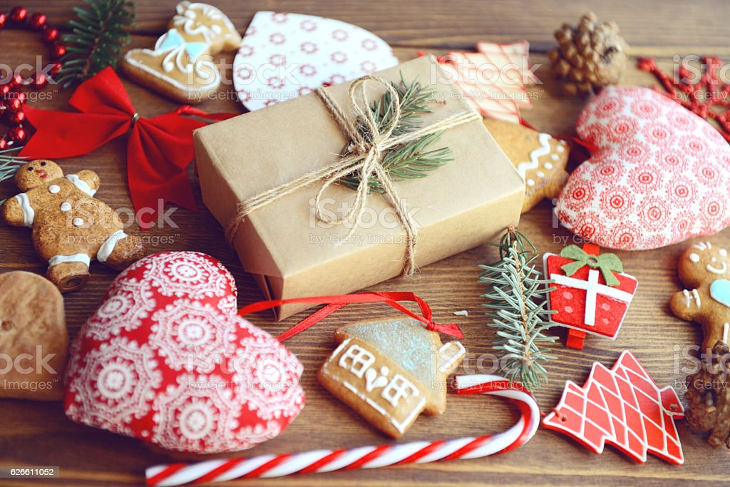 Christmas present on  wooden background stock photo