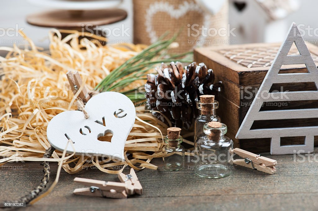 Christmas present packaging, wooden vintage toys stock photo