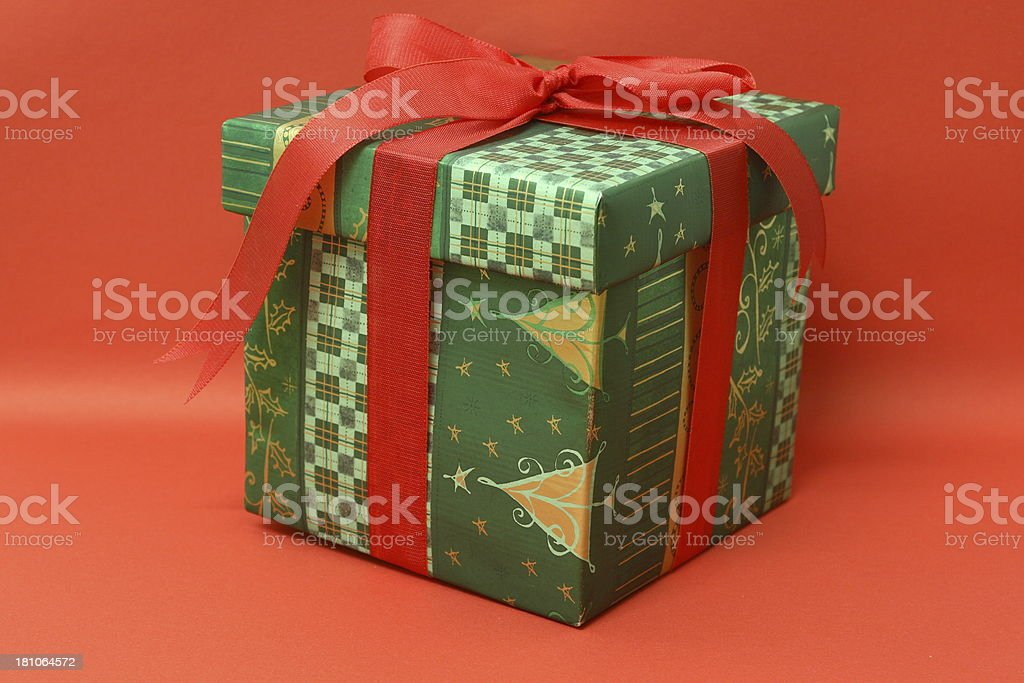Christmas Present (red background) royalty-free stock photo