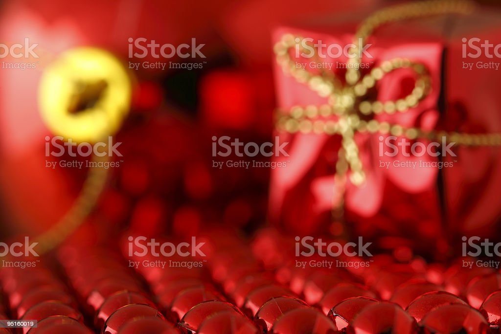 Christmas present with bead chain royalty-free stock photo