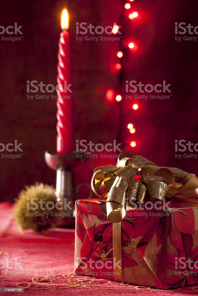 Christmas Present with Candle royalty-free stock photo