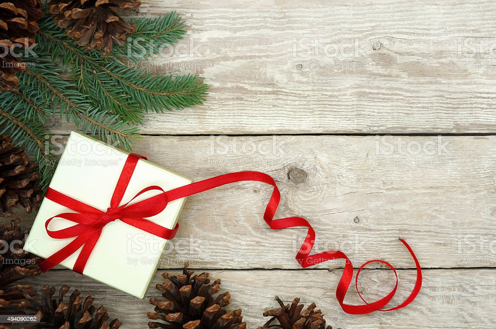 Christmas Present Wrapped with Red Ribbon stock photo