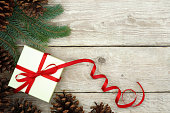 Christmas Present Wrapped with Red Ribbon