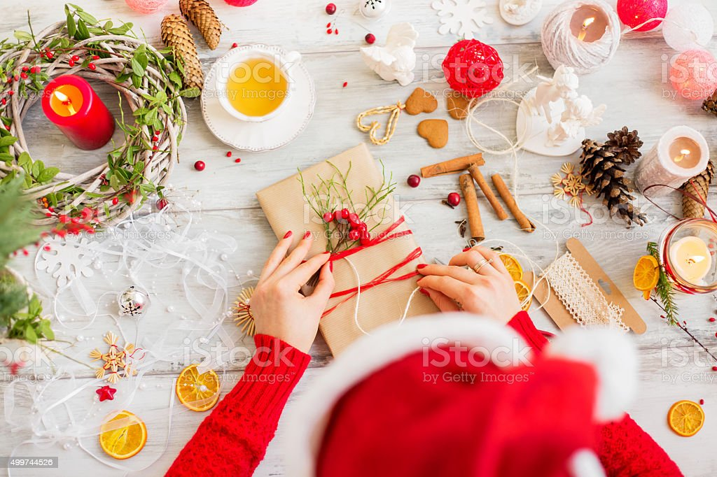 Christmas present wrapping stock photo
