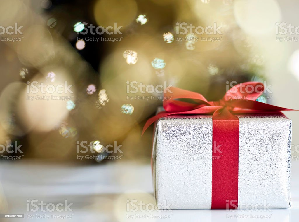 Christmas presents by tree royalty-free stock photo