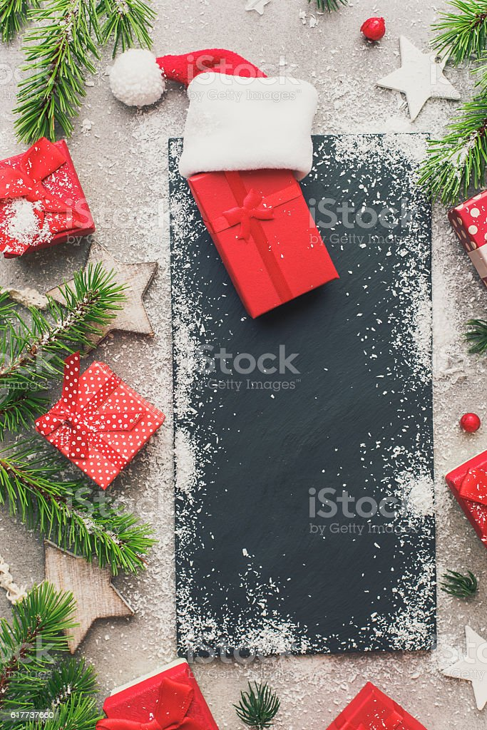 Christmas presents different kinds of patterns stock photo