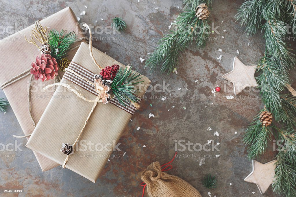 Christmas presents in brown paper stock photo